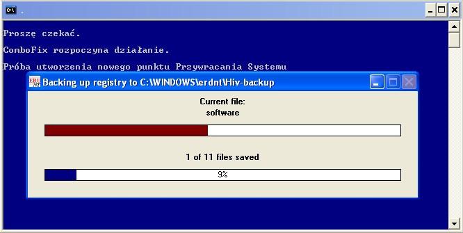 ComboFix tworzy kopię zapasową rejestru